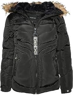 bebe Womens Heavyweight Bubble Ski Jacket Fur Hood