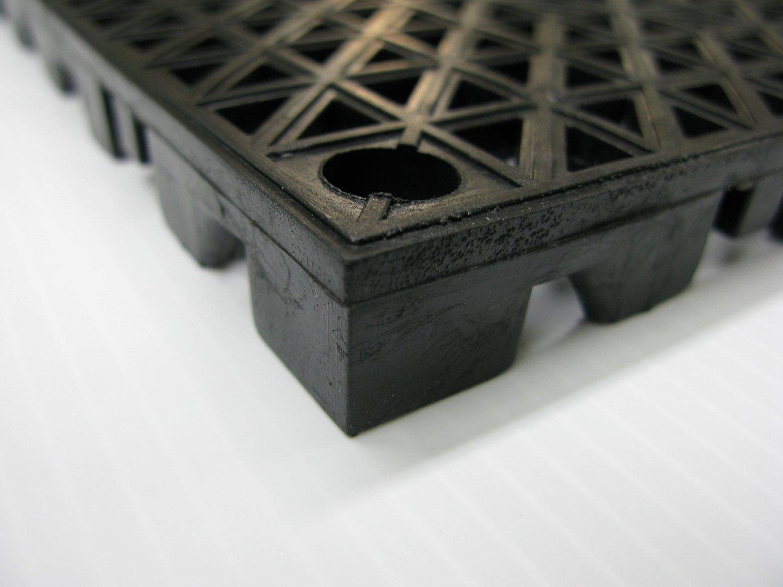 American Floor Mats 12'' x 12'' x 3/4'' PVC Safety Shower Lab Tile Black 12 Pack - 3' x 4' area by American Floor Mats (Image #3)
