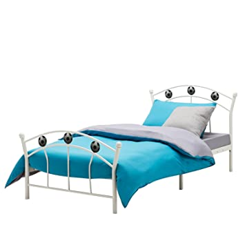 Mecor Metal 3ft Single Bed Frame Solid Bedstead Base With 2 Football Headboard For Kids Adults