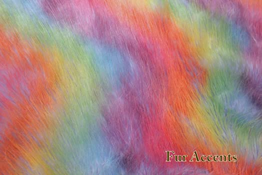 30'' X 36″ Faux Fur Rug/Blue Rainbow/Sheepskin Area Accent Toss/Rectangle/Throw Carpet/New