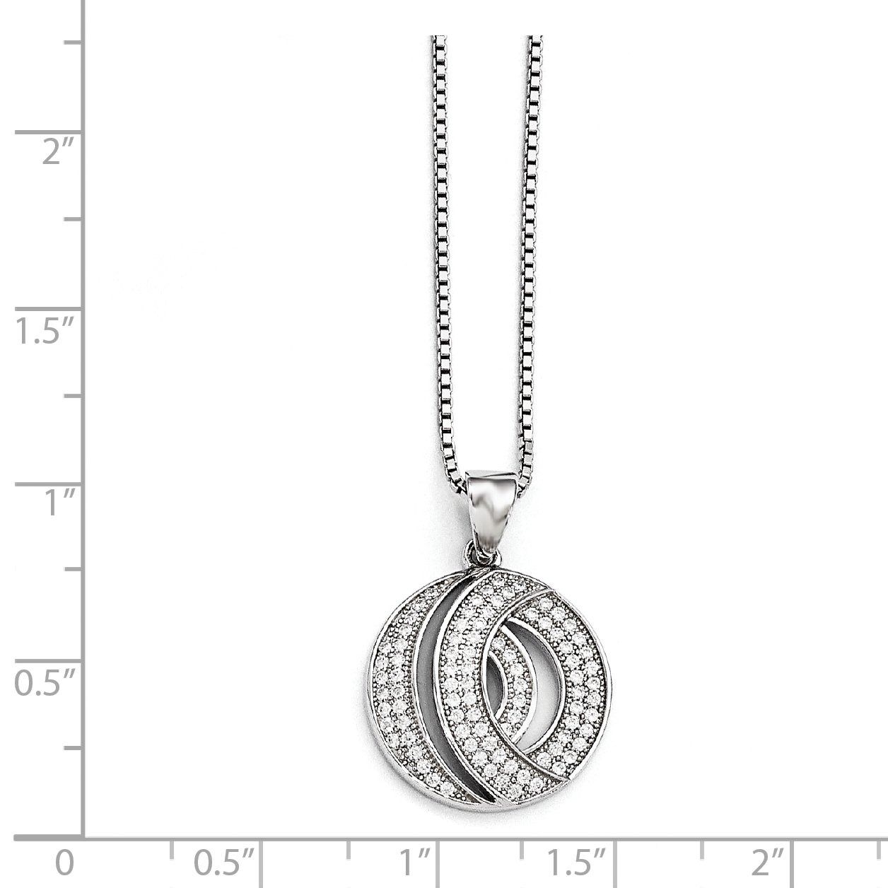 Sterling Silver 18in W// Rhodium-plated /& Synthetic CZ Brilliant Embers Circle Necklace