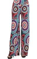 Sugar Rock Paisley Retro Palazzo Pants Fold-Over Waist Wide Leg in Turquoise