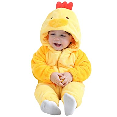 cb0b05b3d8e Amazon.com  Kirmoo Baby Chicken Costume Halloween Christmas Romper Animal  Onesie Pajamas for Kids  Clothing