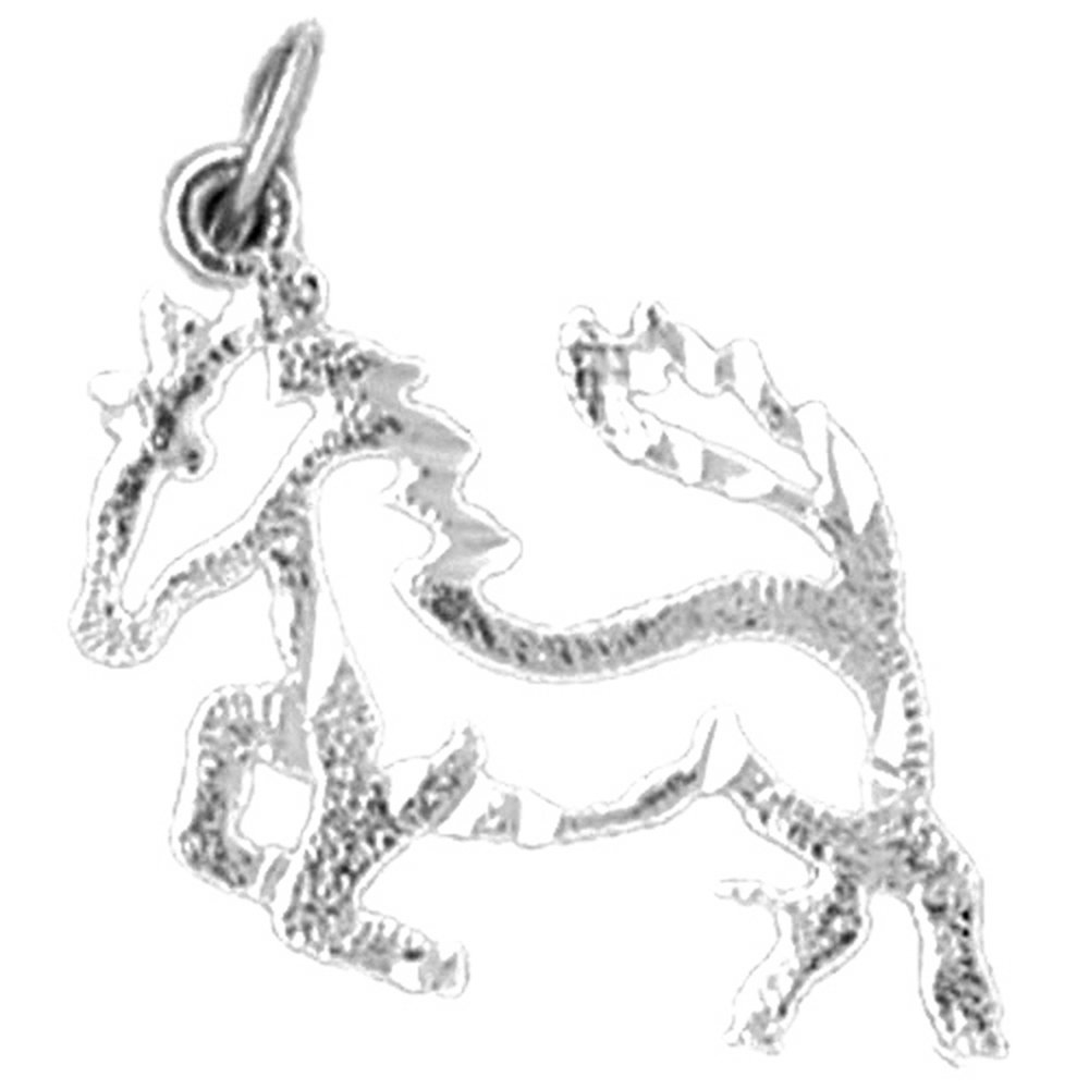 Rhodium-plated 925 Silver Horse Pendant with 30 Necklace Jewels Obsession Horse Necklace
