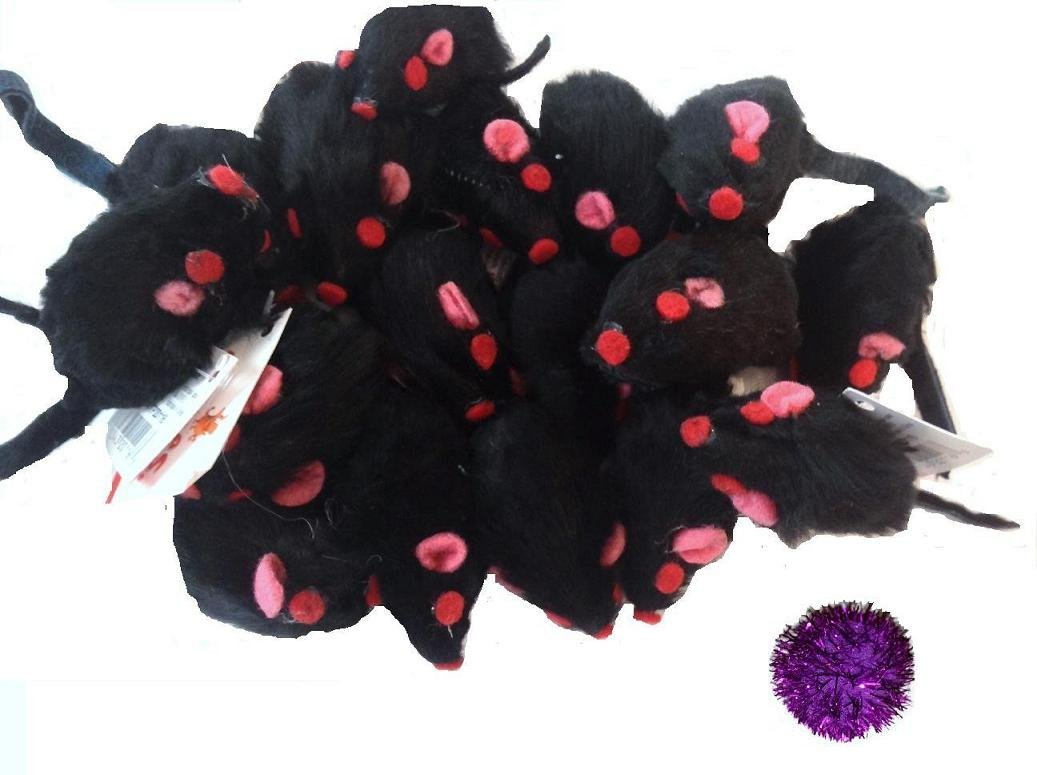 10 Realistic Black Mice Cat Toys with Real Rabbit Fur cat toys