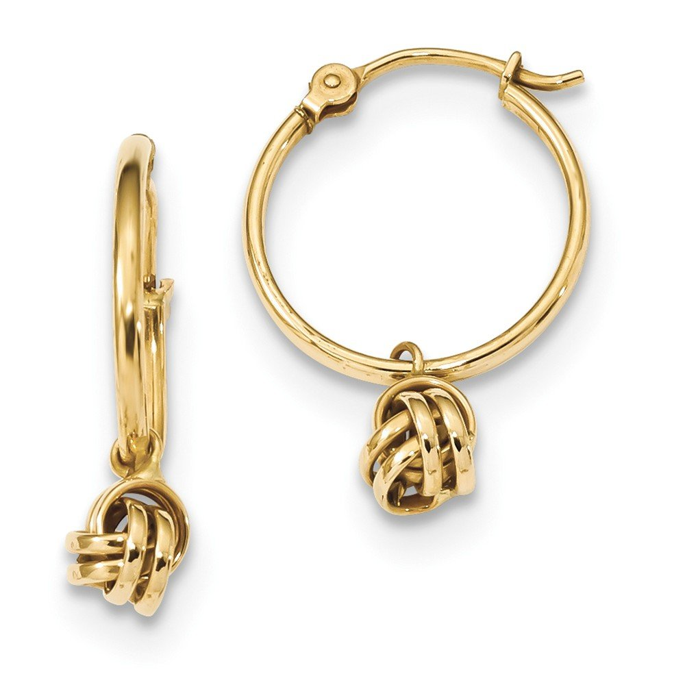 Top 10 Jewelry Gift 14k Polished Love Knot Dangle Hoops