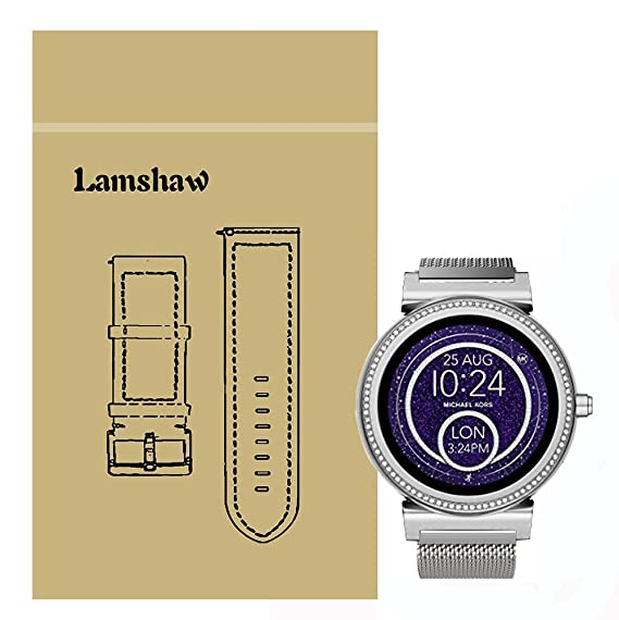Lamshaw Quick Release Smartwatch Band for Michael Kors Access Sofie, Milanese Metal Stainless Steel Mesh Replacement Strap for MK Access Smartwatch ...