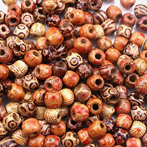 100 Pieces Natural Painted Wood Beads Round Loose Dreadlock Beads Bulk Lots Ball For Jewelry Making Craft Hair DIY Macrame Bracelet Necklace, Mix Color