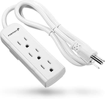 Fosmon 3-Outlet Heavy Duty Power Strip with 3-Feet Extension Cord