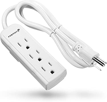 Power Strip 1ft Extension Cord Heavy Duty 3 Prong Multi Electric Plug