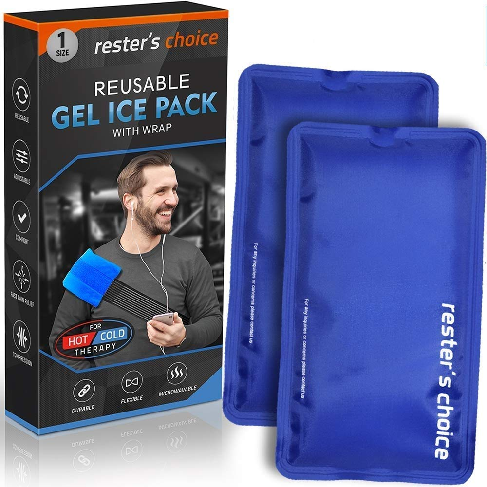 Gel Cold & Hot Packs (2-Piece Set) 5x10 in with Adjustable Wrap. Reusable Warm or Ice Packs for Injuries, Hip, Shoulder, Knee, Back Pain - Hot & Cold Compress for Swelling, Bruises, Surgery by Rester's Choice