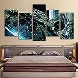 JESC Home Decor Canvas Painting HD Prints Poster 5 Pieces Movie Star Wars Millennium Falcon Paintings Living Room Wall Art Framework (With Wood Frame, 30cmx60cmx4 30cmx80cmx1 (12x24inx4,12x32inx1)) …