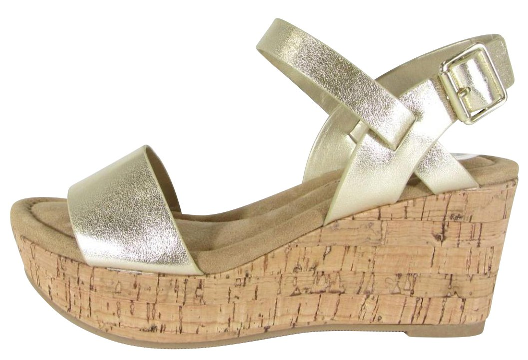Cambridge Select Women's Buckle Ankle Strappy Cork Platform Wedge Sandal B079G542HB 6.5 B(M) US|Light Gold Pu