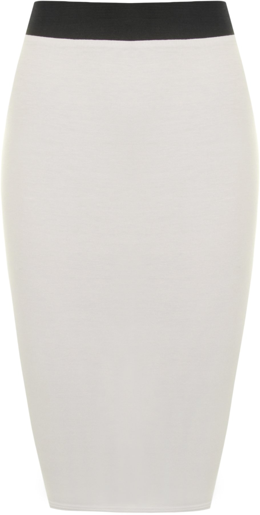WearAll Women's Plus Size Plain Bodycon Mid Skirt - Cream - US 16-18 (UK 20-22)