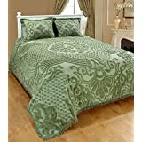 Saral Home Fashions Jewel Chenille Bedspread with Sham, Twin, Green