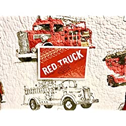 5-pc FIRE ENGINES / FIRE TRUCKS TWIN QUILT SET (set includes matching sham & matching sheet set)