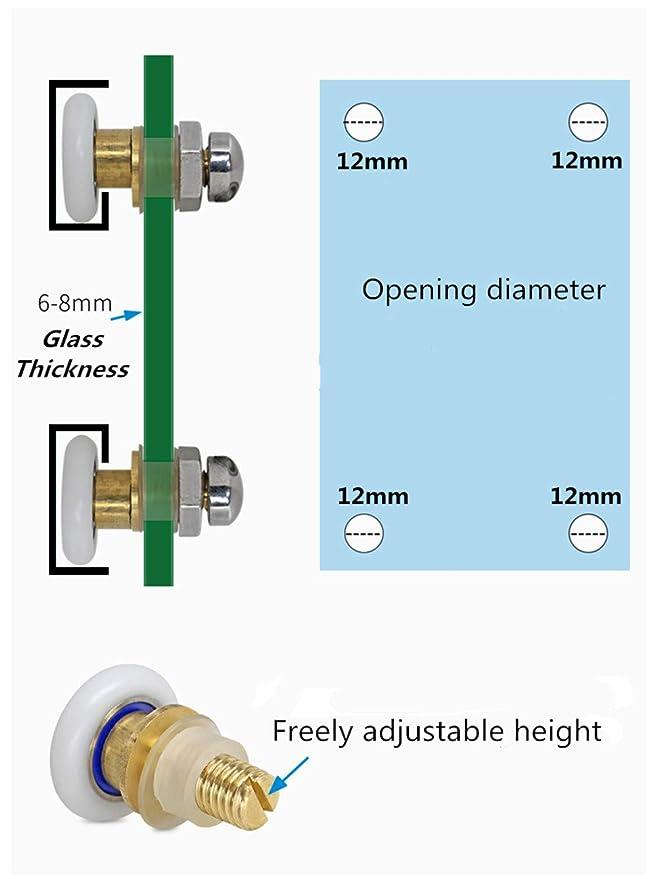 20mm 8pcs Corredores de Puerta de Ducha de Vidrio Deslizante duraderos ABS de lat/ón ba/ño MAGT Rodillo para Puerta de Ducha