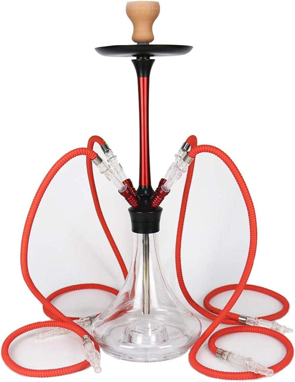 YAMAXUN Hookah Shisha Pipe Set con 4 mangueras, Sabor árabe de la lámpara LED Fumador de Pipa de Agua, Completo Conjunto de Accesorios para la Pipa de Agua Singletube,Rojo