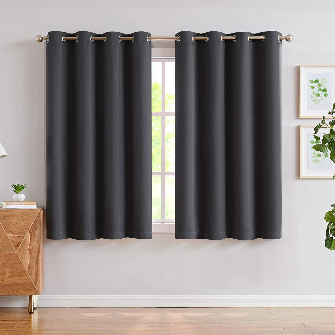JUNFR Blackout Curtains 2 Panels Set - Indoor/Outdoor Thermal Insulated Solid Grommet Room Darkening Drapery for Living Room Small Window (Dark Gray, 52Wx63L)