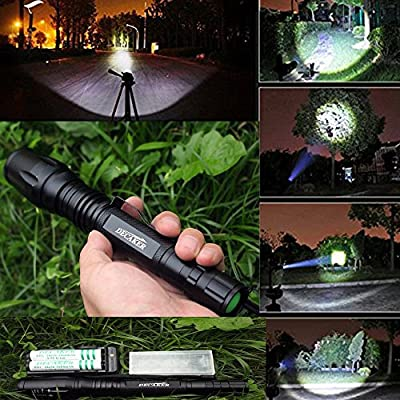 TETC CREE XML T6 LED Flashlight 5 Mode Zoomable Torch with 1600 lumens + 2PC 6800mAh Rechargable Battery + Dual Charger + Flashlight Holster