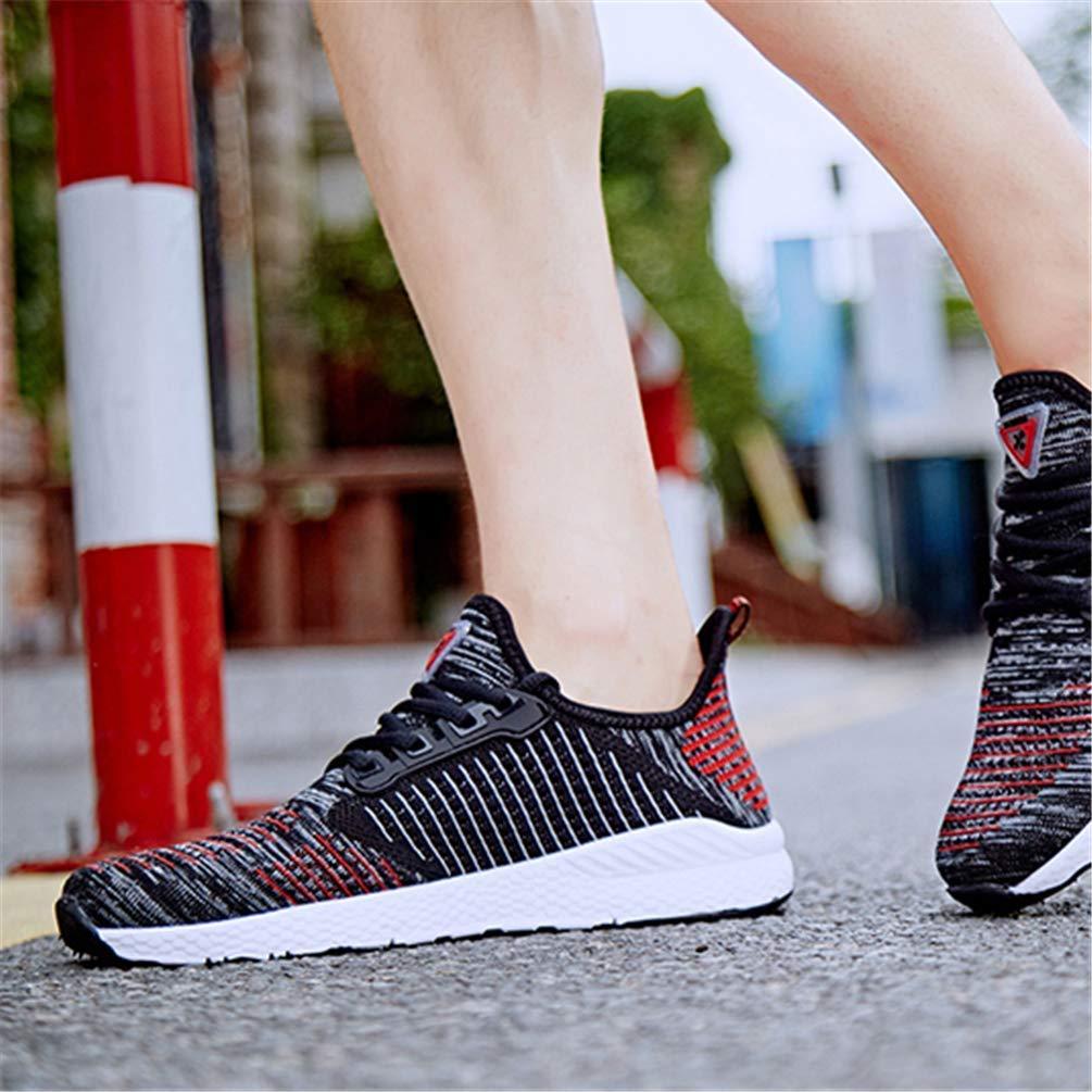 ZHRUI Mesh Laufschuhe für Herren Damen Flache Turnschuhe Outdoor Atmungsaktiv Bequeme Athletische Flache Damen Schuhe (Farbe   Schwarz Rot, Größe   9=43 EU) 3cbe86