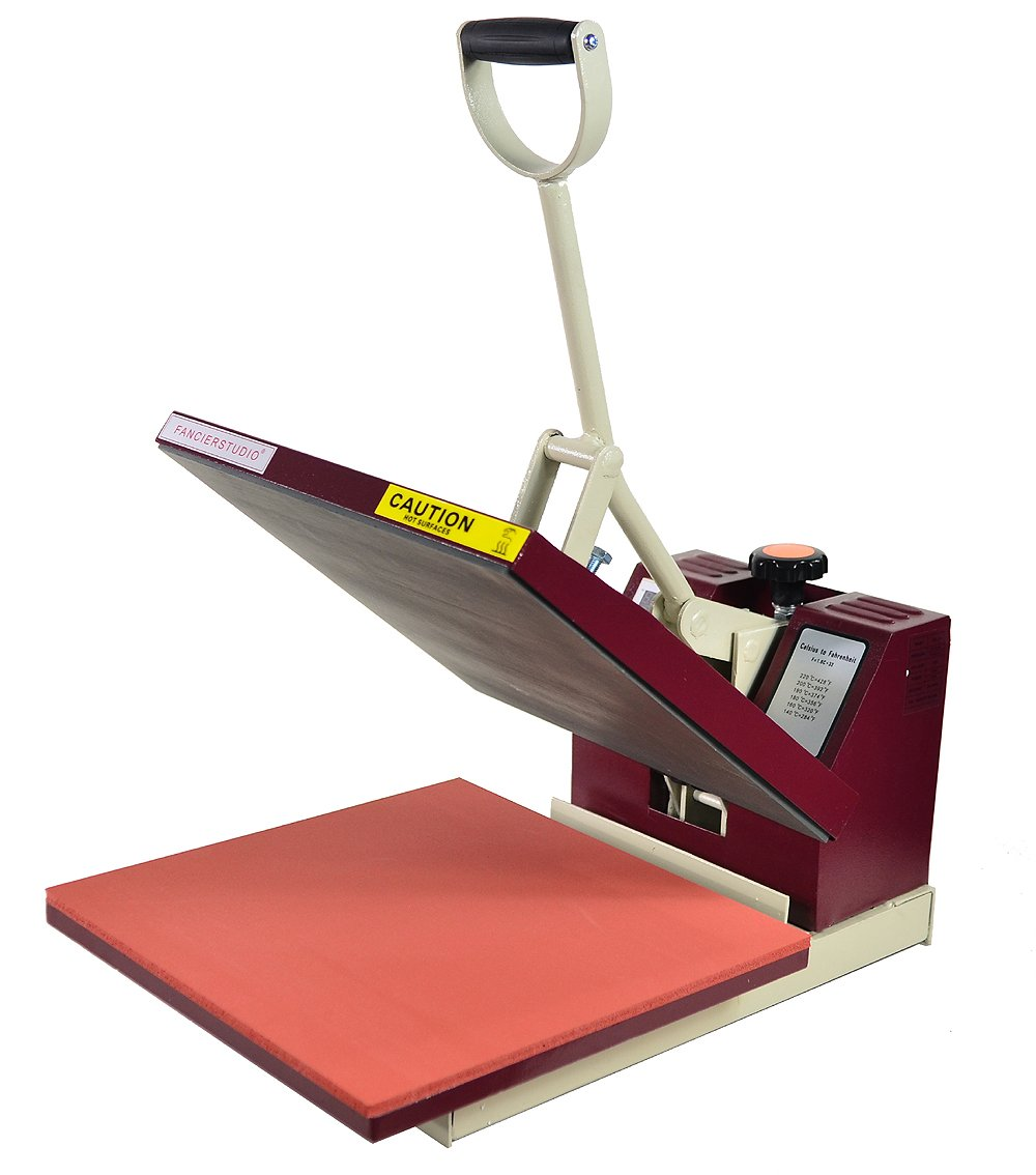 Fancierstudio Heat press Industrial-Quality Digital 15-by-15-Inch Sublimation T-Shirt Heat Press, Red White