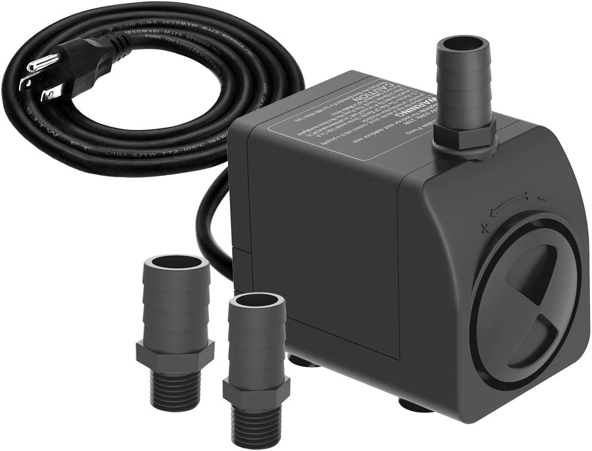 Knifel Submersible Pump 300GPH Ultra Quiet with Dry Burning Protection 6ft High Lift for Fountains, Hydroponics, Ponds, Aquariums & More……