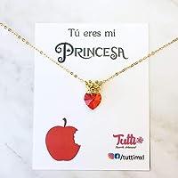 Princesa Blanca Nieves - Collar de Princesa Corona con Corazón Swarovski Rojo - Princess Crown Necklace with Red Swarovski Heart - Collar Princesa - Princess necklace - Tutti Joyería