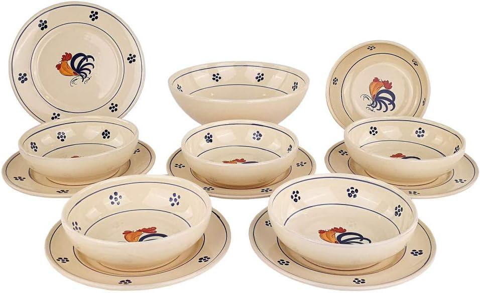 Piatti In Ceramica Prezzi.Servizio Piatti Per 6 Persone 13 Pezzi 6 Ciotole 6 Piatti Piani 1 Coppa Coli Amazon It Casa E Cucina