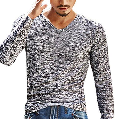 (iLXHD Mens Solid V Neck Long Sleeve T Shirt Top Slim Blouse(3XL,Gray))