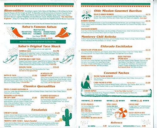 Amazon.com : Salsas Gourmet Mexican Menu Verdugo Way Camarillo California : Everything Else
