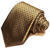 Traditional Gold w/ Blue Dots 7 Fold Silk Necktie - seven folds - Big Knot Tie