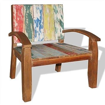 vidaXL Chaise en Bois Massif de récupération Chaise de Salon Jardin ...