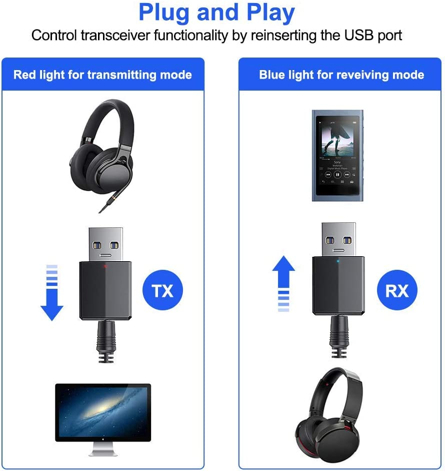 5.0 USB Bluetooth Wireless Audio Transceiver and Receiver Connected Hi-fi with 3.5mm Audio Cable for PC//TV//Car//Home USB Just For Power BLACK Bluetooth Dongle Adapter