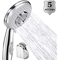 Shower Head Low Water Pressure Boosting Chrome Replacement Handheld Shower 5 Setting Sprays High Pressure Water Saving with Adjustable Holder for Bathroom