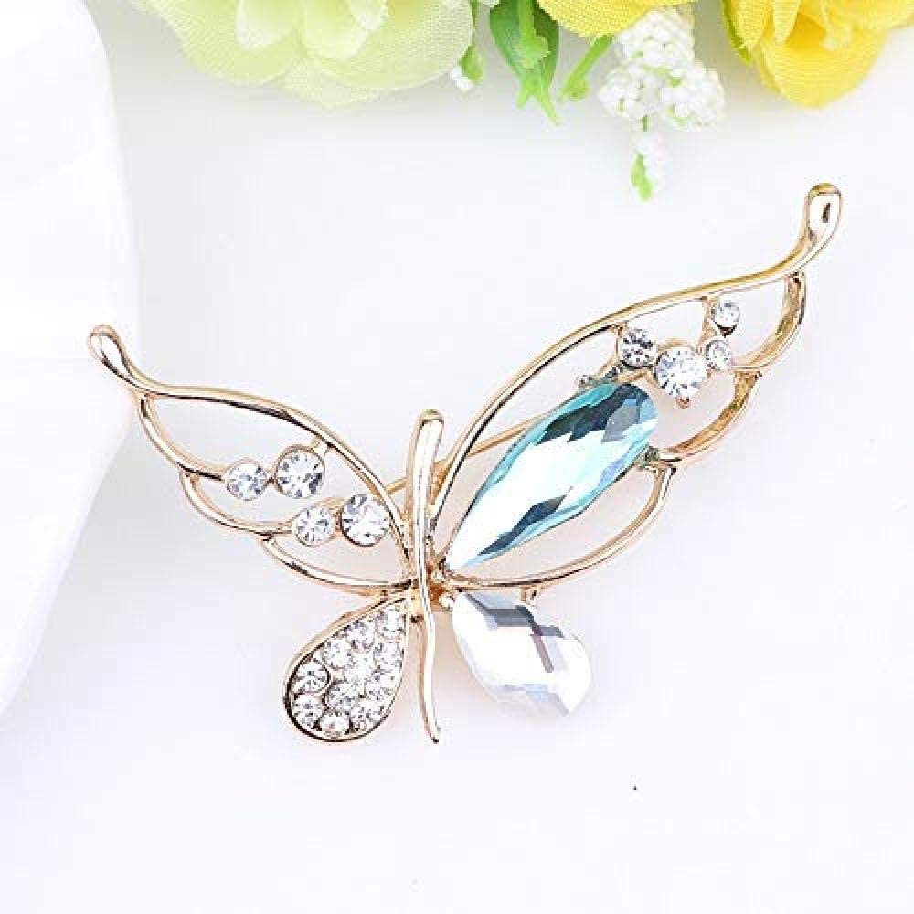 Rhinestone Butterfly Brooch Crystal Pin Scarf Buckle Coat Western Ornament Badge Christmas New Year Gift