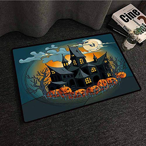 Halloween Decorations Printed Door mat Medieval Haunted House with Garden Full of Pumpkins and Dark Night Durable W16 xL24 Orange Teal