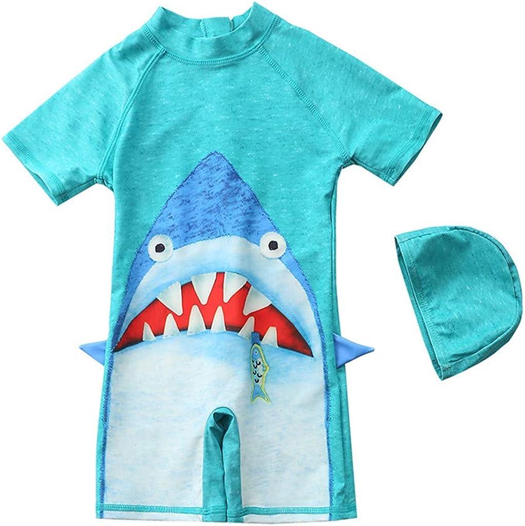 Summer New! Child 3D Stereo Shark Shape Swimsuit, Short Sleeve Swimwear+Swim Cap Outfit, Beachwear for Kids Girl Boy