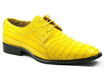 20182017 Oxfords Roberto Chillini RC6563 Mens Canary Yellow Exotic Lace Up Dress Oxford Shoes Factory Outlet
