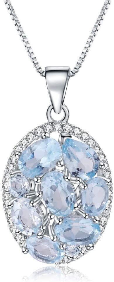 BJGCWY Collar con Colgante Elegante de Piedras Preciosas de topacio Azul Cielo Natural de 3.90ct para Mujer, joyería Fina, Collar de Cadena de Plata de Ley 925