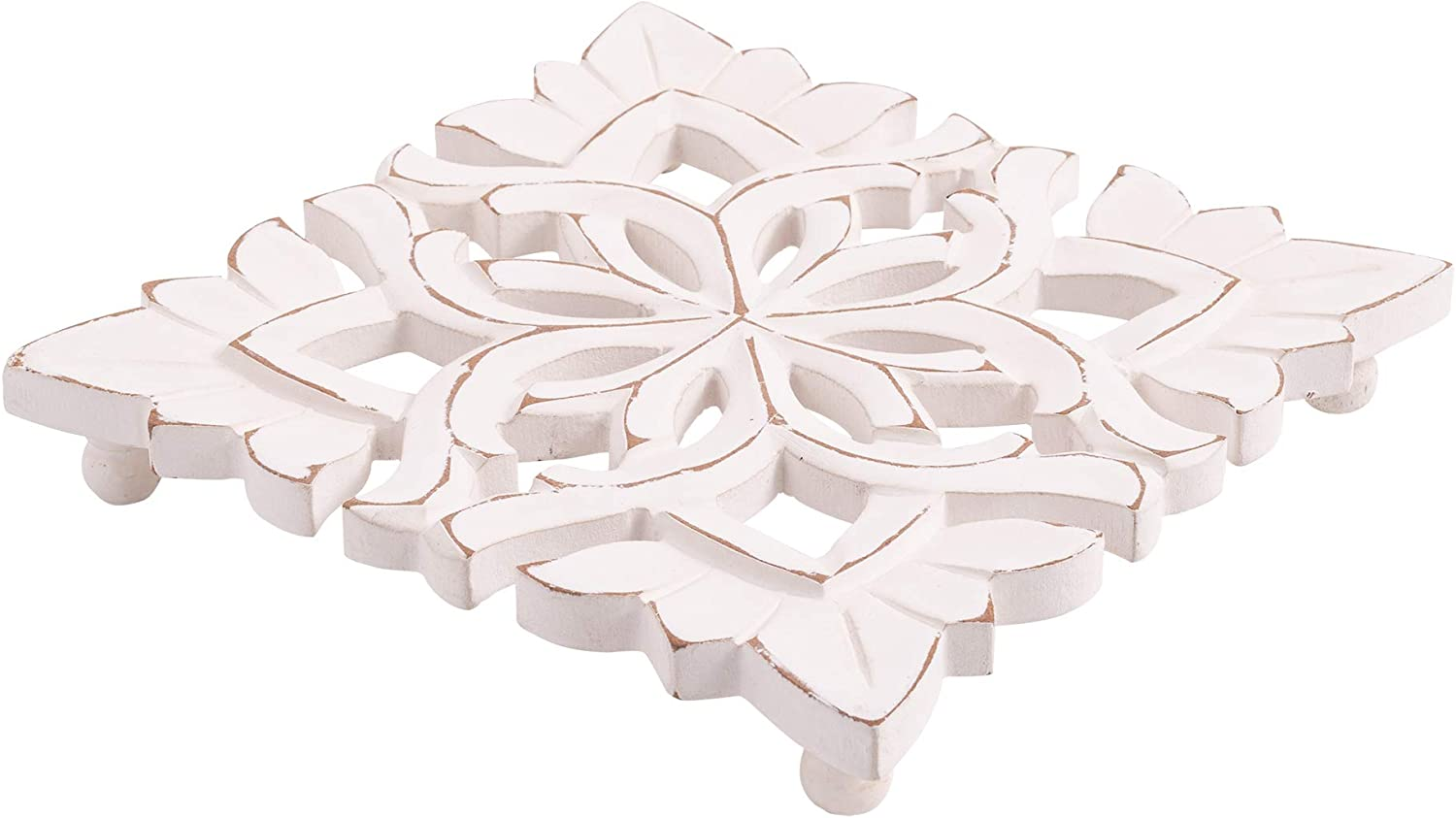"""Farmhouse Decor Natural Wood Trivet for Heavy Cast Iron, Dutch Ovens and Teapots - 7"""" Square (Carved Blossom White)"""
