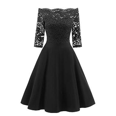 6c6e48a1f59 Howstar Women s Lace Dress Party Long Dress Three Quarter Sleeve Ladies  Elegant Off Shoulder Dress (