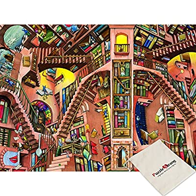 Impuzzle Biblioteca Colin Thompson 500 Piece Jigsaw Puzzle Pouch Inclusa