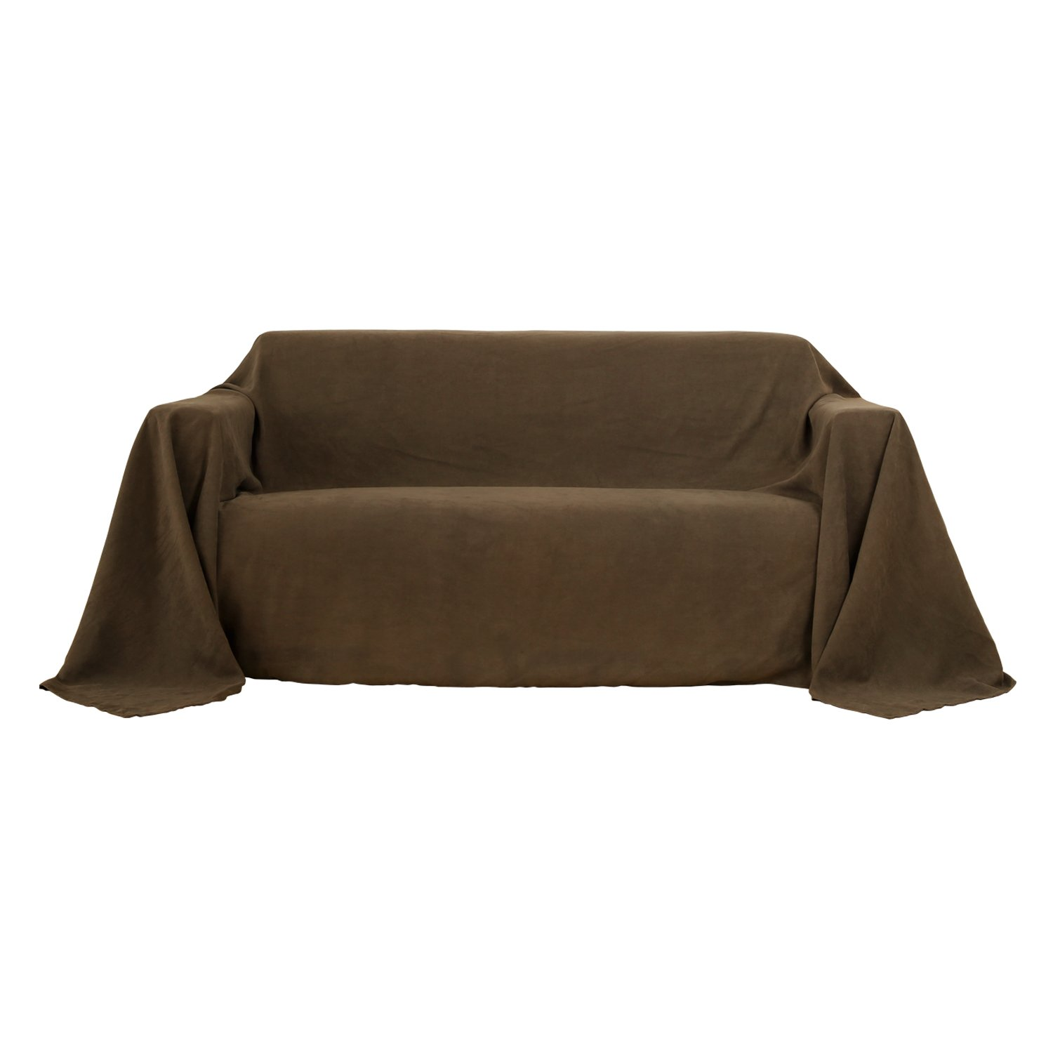 Deconovo Solid Suede Fabric Sofa Cover Slipcover Lightweight Dust Proof Sofa Cover for Couch 210x280cm Brown