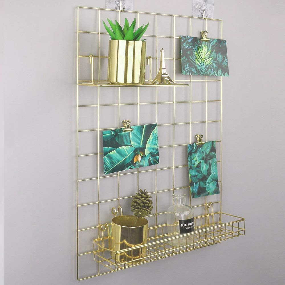 Metal Wire Tool and Stationery Storage Panel Mesh Organizing Board of Workspace and Home Office for Hanging Pictures Gold, 17.7 x 25.6 Files and Memo Sheets Wall Display and Planning Grid