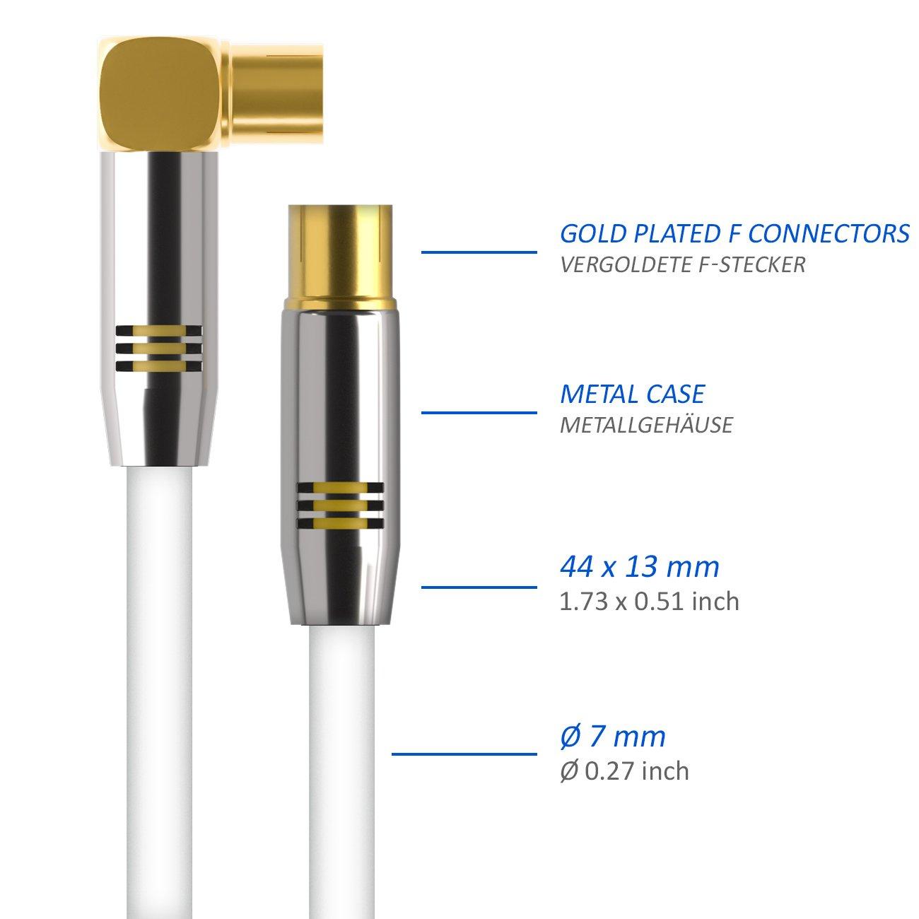 deleyCON TV Cable de antena 7,5m Cable coaxial / Conector dorado macho de TV / hembra de TV 90° Conector de metal 100dB UltraHD FullHD: Amazon.es: ...
