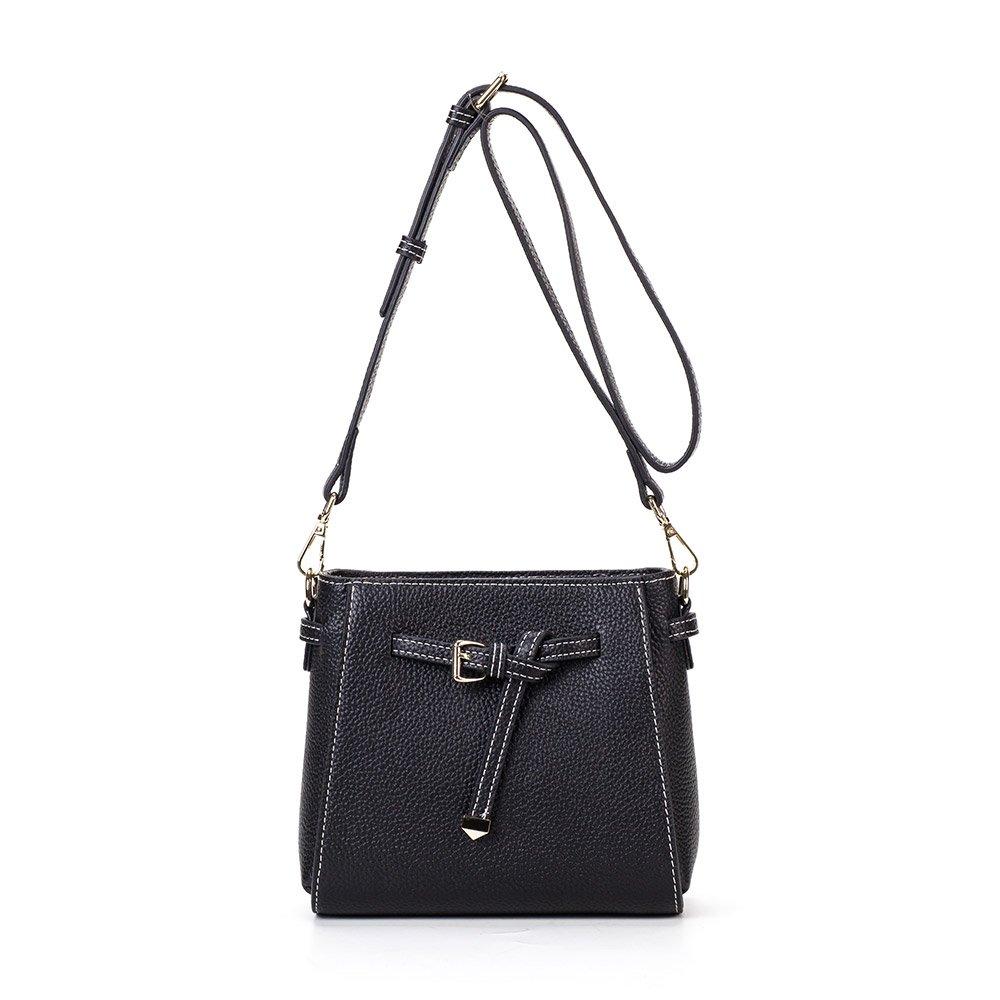 Black MT MIT Genuine Leather Retro Handbag Tote Bag for Women With Shoulder Strap
