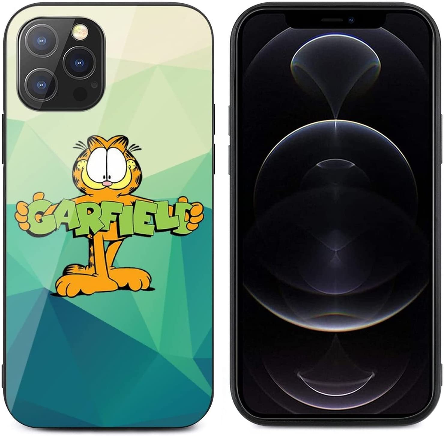Garfield for iPhone 12 Glass case Anti-Scratch Shockproof Cover Protective Case for iPhone 12/12 pro max case, Protective Compatible with for iPhone 12Pro Max