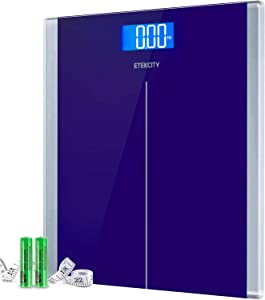 Etekcity Digital Body Weight Bathroom Scale with Step-On Technology, 400 Lb, Body Tape Measure Included, Elegant Blue