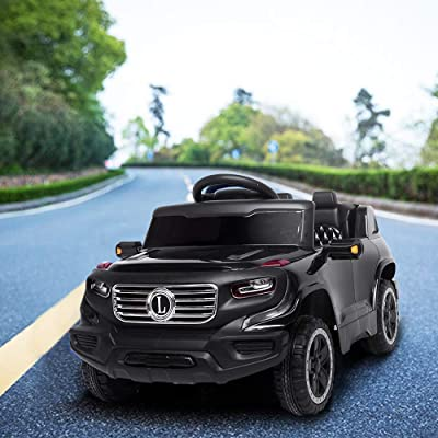 Goujxcy Kids Ride on Car, Electric Remote Control Truck 6V Battery Motorized Vehicles Children Toy Car with 3 Speeds, Music, seat Belts, LED Lights,Kids Electric Vehicle (Black): Toys & Games